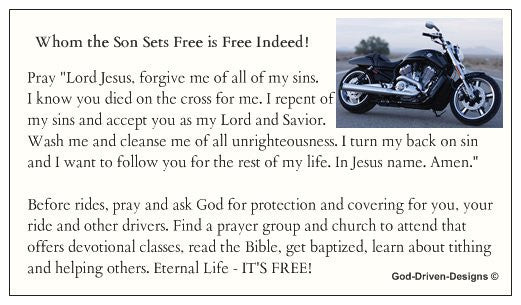 Whom the Son Sets Free Motorcycle Biker Seed Card