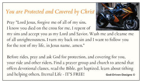 Covered by Jesus Motorcycle Biker Seed Card