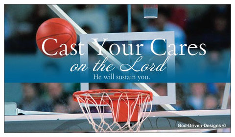 Cast Your Cares Custom Event Place Cards - Basketball