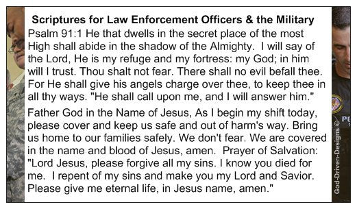 Psalm 91 Prayer Card for Police & Military