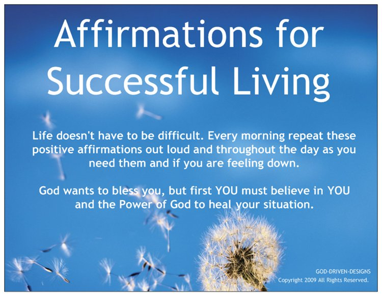 Affirmations for Successful Living Prayer Card