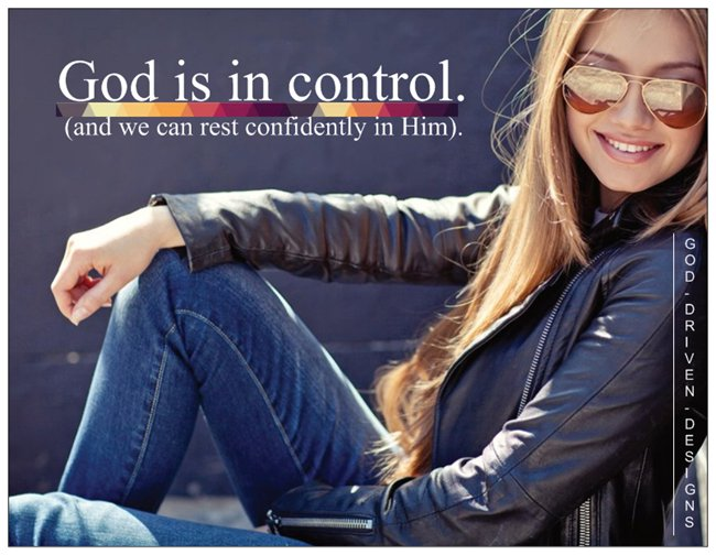 You can rest in God. Image shown is a confident woman smiling.