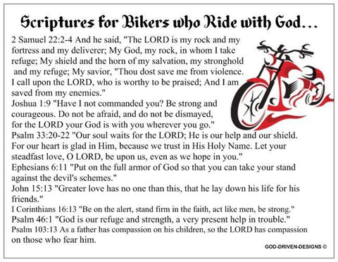 Scriptures for Bikers who Ride with Christ Prayer Card - Motorcycle Theme