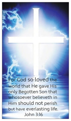John 3:16, The Lord's Prayer, and Salvation Seed Card - Cross with Blue