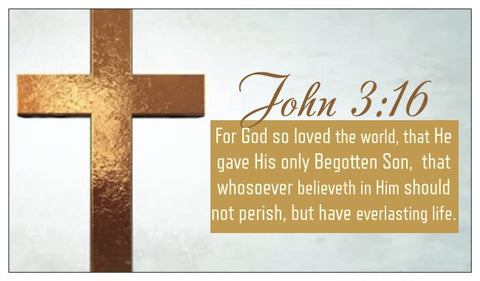 John 3:16, The Lord's Prayer, and Prayer of Salvation Seed Card - Gold Cross