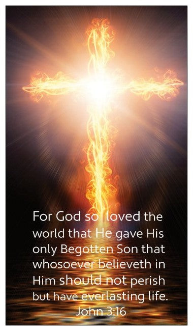 John 3:16, The Lord's Prayer, and Salvation Seed Card Cross with Fire