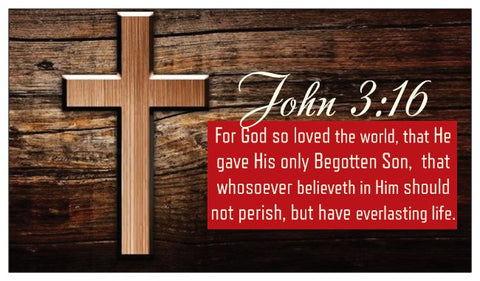 John 3:16, The Lord's Prayer, and Salvation Seed Card - Wood