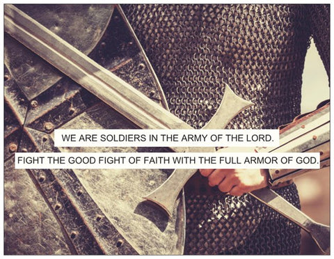 Full Armor of God Warriors Prayer Card with Knight Pray Theme