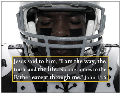 The Warriors Prayer Card with Football Player Theme and John 14:6