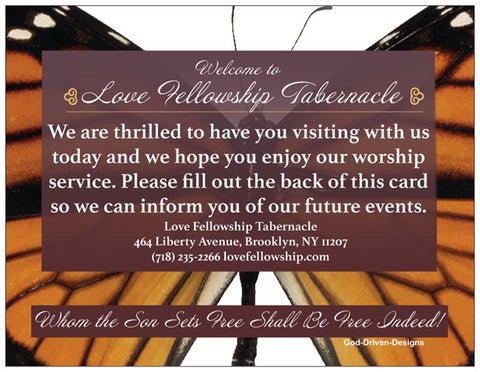 Order Church Event Welcome Cards - Butterfly