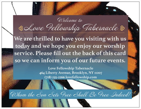 Order Custom Church Event Welcome Cards - Butterfly