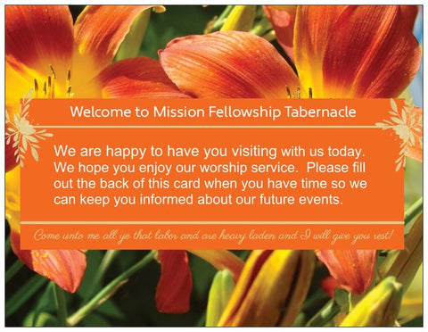 Church Welcome Cards with Address Form - Lily Orange