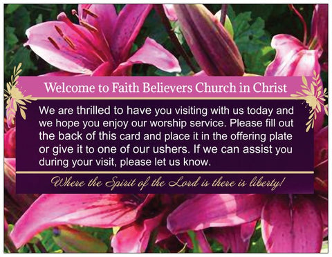 Church Welcome Cards with Address Form - Lily Purple