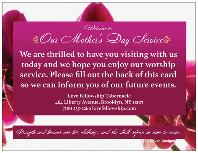 Order Mother's Day Church Welcome Cards - Orchid