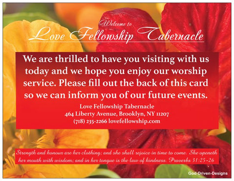 Order Mother's Day Church Welcome Cards - Red Orange