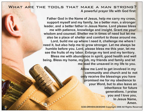Tools of a Strong Man Prayer Card - Handyman / Construction
