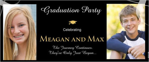 Party Banner for Graduation Custom 2.5' x 6' Banner (Sample Shown)