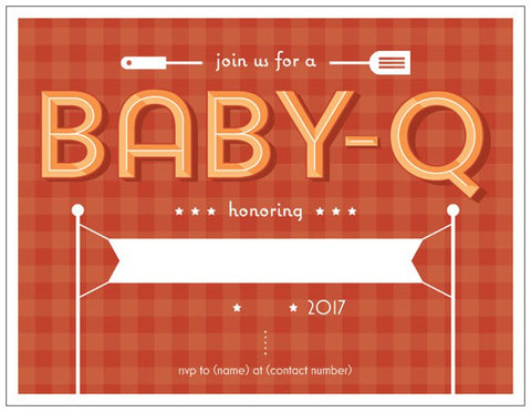 "Shower Summer Baby-Q Party Custom Horizontal Flat 5.5"" x 4"" Invitations (Sample Shown)"