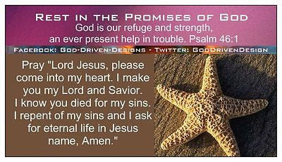 Rest in the Promises of God Prayer of Salvation Starfish Fuschia Seed Card