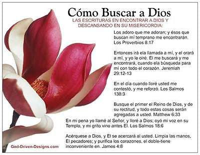 Como Buscar a Dios (How to Seek God Out) Spanish Prayer Card