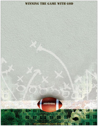 Winning the Game with God Football Letterhead Stationery Gift