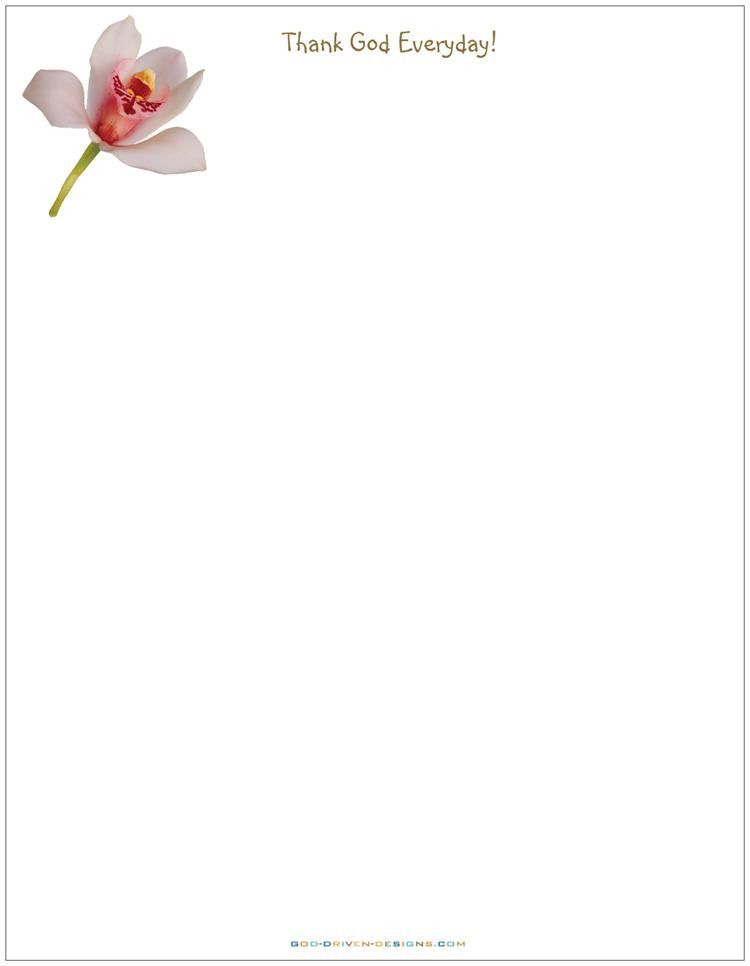 Thank God Everyday Orchid Letterhead Stationery