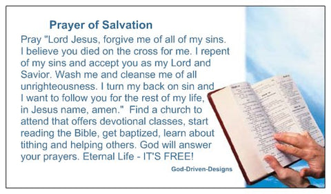 Prayer of Salvation Bible Seed Card - Small Font
