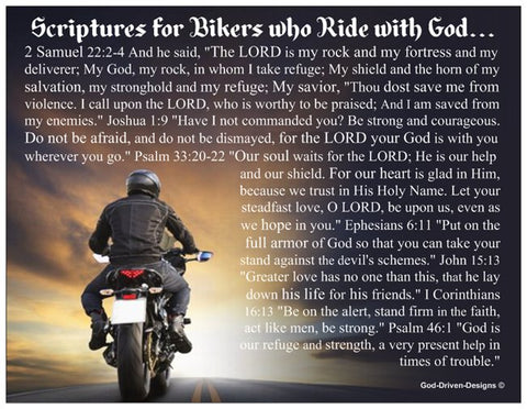 Biker's Prayer Card with Scriptures - Motorcycle
