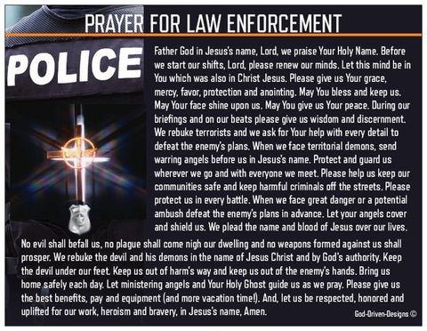 The Police Officers Prayer Card for Law Enforcement