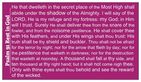 Psalm 91 Wallet Size Seed Card - Purple / Fuschia