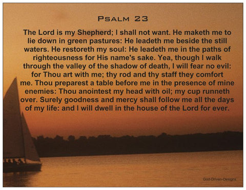 Psalm 23 - Prayer Card (Blank on the Back)