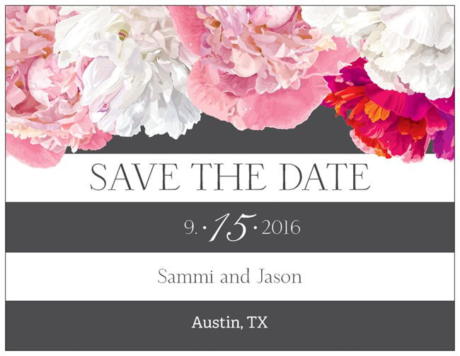 "Save the Date Party Custom Horizontal Flat 5.5"" x 4"" Invitations (Sample Shown)"