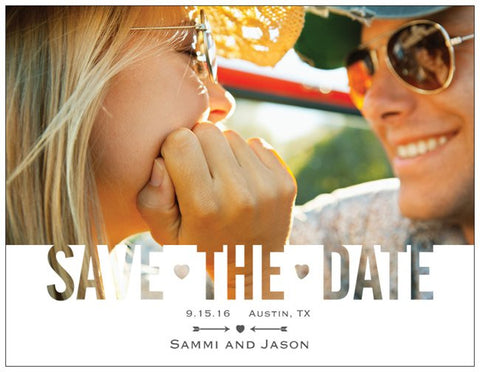 "Save the Date Engagement Party Custom Horizontal Flat 5.5"" x 4"" Invitations (Sample Shown)"