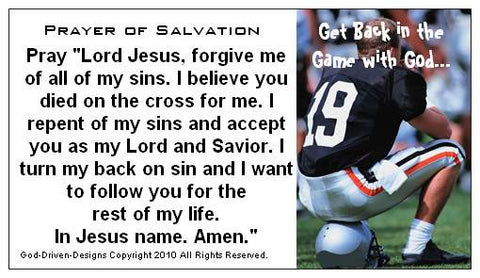 Get Back in the Game Football Large Font Prayer of Salvation Seed Card