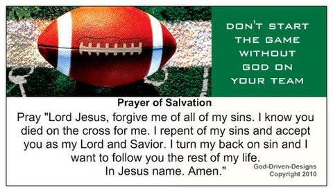 Don't Start the Game Without God Football Prayer of Salvation Seed Card