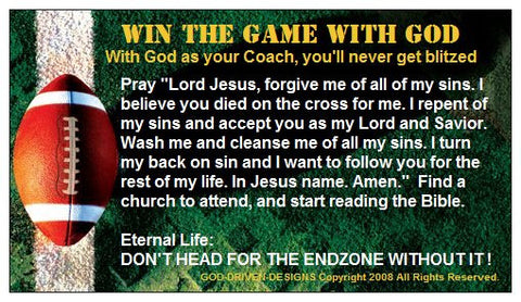 Win the Game with God Football Prayer of Salvation Seed Card
