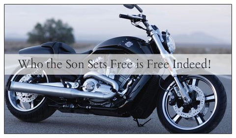 Who the Son Sets Free Motorcycle Biker Seed Card