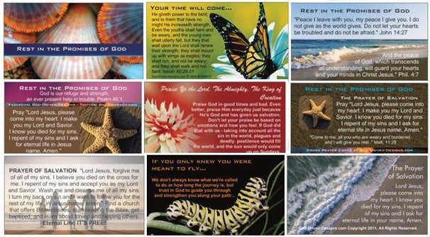 Assorted Prayer of Salvation Seed Cards - Beach Summer Themes