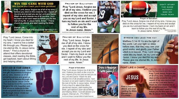 Assorted Prayer of Salvation Seed Cards - Sports Theme