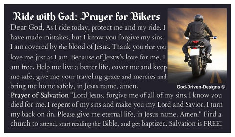 Biker Prayer Card: Ride with God Motorcycle Card