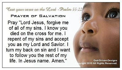 Psalm 55:22 Cast Your Cares Baby Prayer of Salvation Seed Card