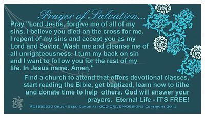 Prayer of Salvation Card Green Ivy Seed Card
