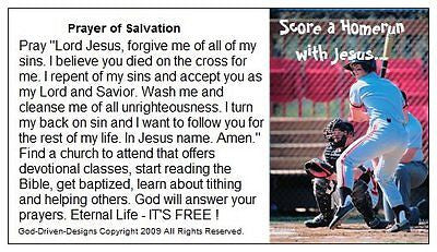 Prayer of Salvation Seed Cards - Baseball