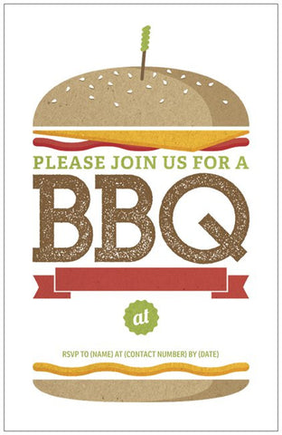 "Summer Burger Party Custom Vertical Flat 5"" x 7"" Invitations (Sample Shown)"