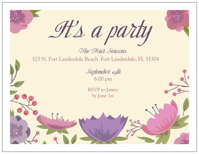 "Party Custom Horizontal Flat 5.5"" x 4"" Invitations (Sample Shown)"