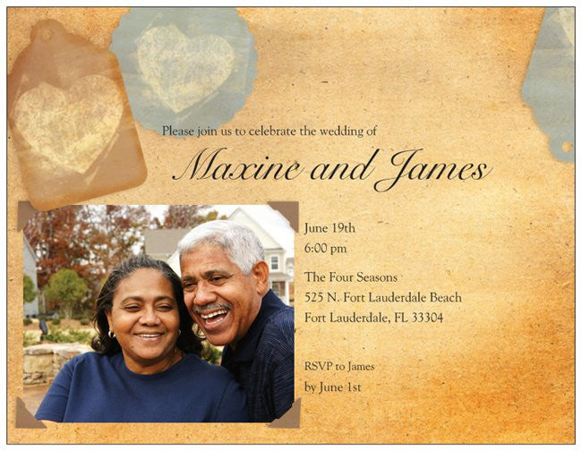 "Wedding Invitation Custom Horizontal Flat 5.5"" x 4"" Invitations (Sample Shown)"
