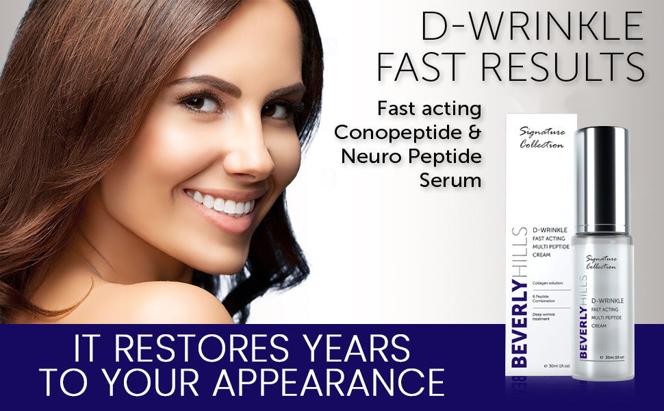 D-Wrinkle fast results. Fast acting conopeptide and neuro peptide serum. it restores years to your appearance
