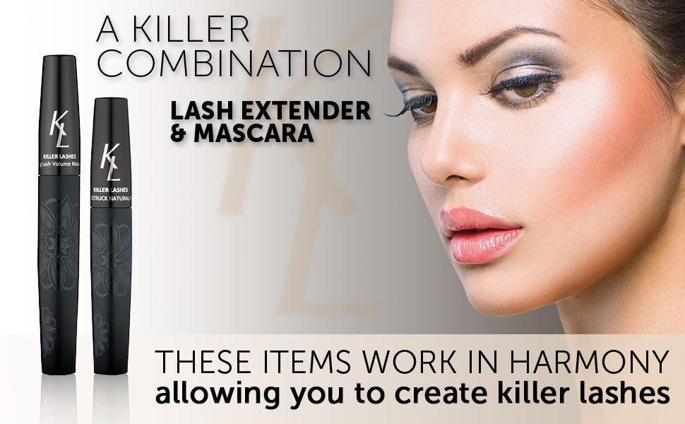A killer combination. Lash extender and mascara. These items work in harmony allowing you to create killer lashes