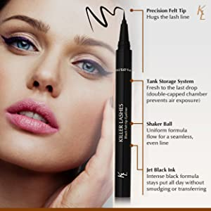 Precision felt tip hugs the lash line. Tank storage system fresh to the last drop (double capped chamber prevents air exposure). Shaker ball, uniform formula flow for a seamless even line. Jet black ink, intense black formula stays put all day without smudging or transferring.