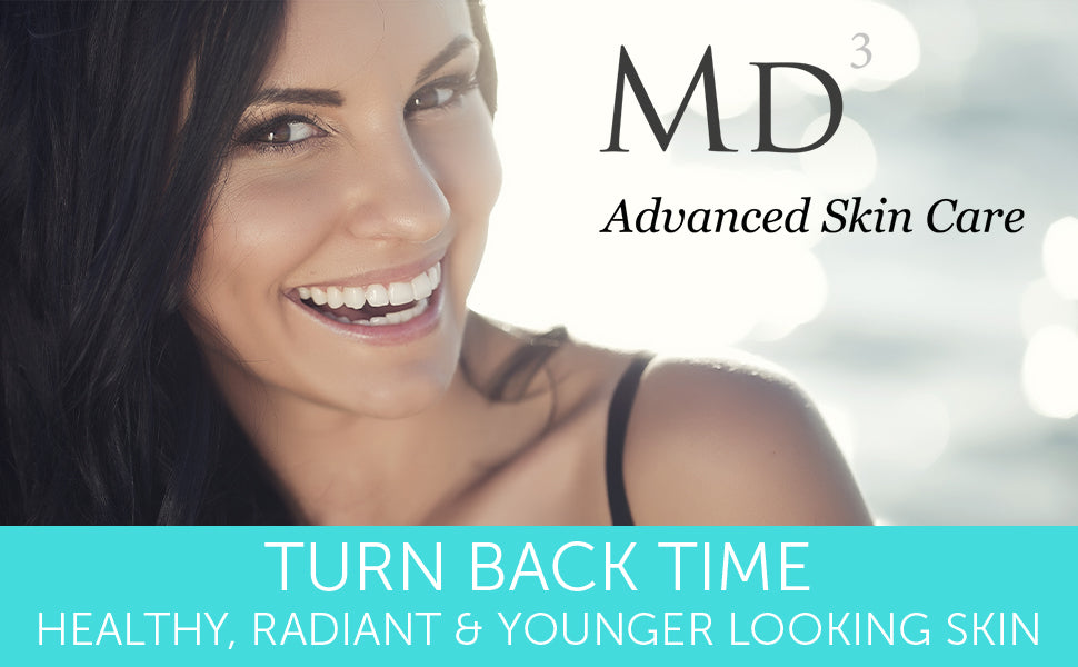 MD3 advanced skin care. Turn back time. Healthy, radiant, and younger looking skin